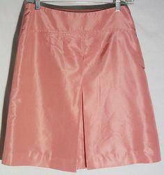 J.CREW Pink/Rose Silk Taffeta Skirt - Front Pleat - Size 4