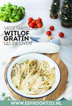 Witlof gratin uit de oven Vegan Dinner Recipes, Vegan Dinners, Healthy Recipes, Vegan Curry, Hummus, Camembert Cheese, Salads, Soup, Gluten Free