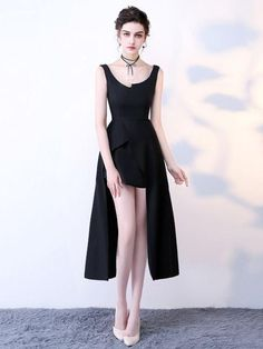 Chic A-line Black Scoop Simple Satin High Low Prom Dress Evening Dress AM583