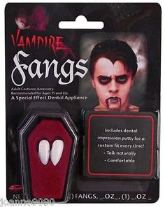 White #vampire dracula #fangs caps teeth fancy #dress with putty adhesive hallowe,  View more on the LINK: 	http://www.zeppy.io/product/gb/2/350589395328/