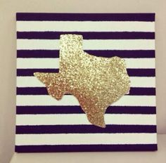I like this idea but instead of the state do glitter letters! Cut out your state on glitter paper and put it on a patterned canvas!