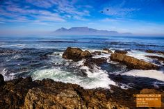 View of Table Mountain from Robben Island, Cape Town, South Africa