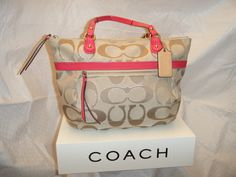 Coach Poppy Metallic Signature Tote PreLoved. Starting at $20 on Tophatter.com!