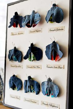 Create some fun wall art for your home with this upcycled denim and fabric scrap moth taxidermy.  Mount the moths like an vintage style insect display.  #moths #scrapfabric Denim Scraps, Fabric Scraps, Flower Bed Edging, Indigo Plant, Funky Junk Interiors, Cool Wall Art, Sign Stencils, Adult Crafts, Vintage Signs