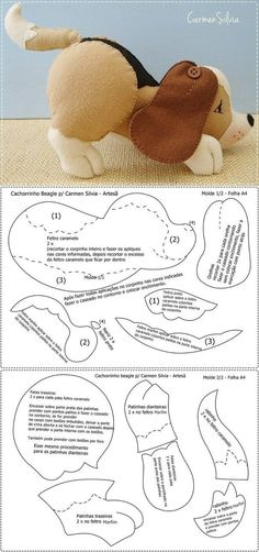 Amazing Home Sewing Crafts Ideas. Incredible Home Sewing Crafts Ideas. Animal Sewing Patterns, Felt Patterns, Sewing Stuffed Animals, Stuffed Animal Patterns, Plush Pattern, Dog Pattern, Fabric Animals, Felt Animals, Felt Stocking