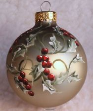 Light Green Holly Glass Christmas Ornament hand painted and signed by artist