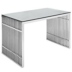 Modway Gridiron Stainless Steel Office Desk in Silver -- You can get more details by clicking on the image.Note:It is affiliate link to Amazon.
