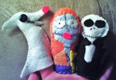 Nightmare Before Christmas finger puppets.  check out more of my stuff at www.facebook.com/angelaburroart