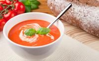 tomato soup with green olives and basil