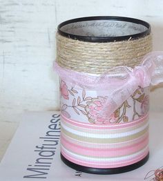 Makeup Brush Holder Pencil Holder Pink and Taupe by makingtimetc, $15.00