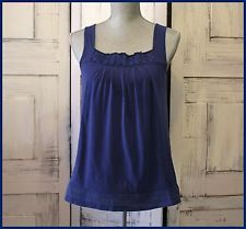 Anthropologie Blue Blouse Tank Size M By Deletta Sleeveless Front Pleated Casual