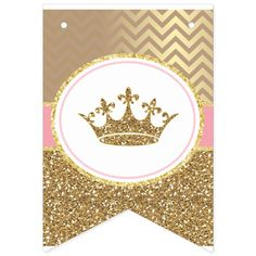Party Bunting, Bunting Banner, Baby Shower Parties, Baby Boy Shower, Printable Banner Letters, Gold Banner, Princess Theme, Shower Banners, Gold Baby Showers