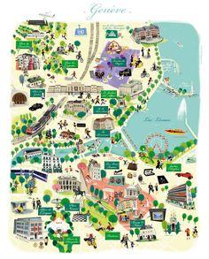 Carte Illustrée de Genève par Nathalie Ragondet | Illustrated Map of Geneve, Suisse