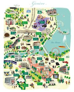 Carte Illustrée de Genève par Nathalie Ragondet | Illustrated Map of Geneve, Suisse