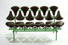 Bench made from bicycle seats by Jeremy Petrus Photo