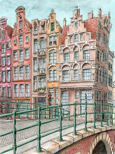 Amsterdam from Fantastic Cities colouring book by Steve McDonald. Watersoluble markers and coloured pencils. Watercolor Architecture, Watercolor Landscape, Architecture Art, Watercolor Paintings, Amsterdam Art, Amsterdam Houses, Anatomy Coloring Book, Coloring Book Pages, Steve Mcdonald