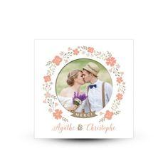 Carte de remerciement mariage fleurs champêtre