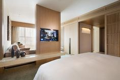 The East Hotel Hangzhou, Hangzhou, Luxury Suite, Guest Room Hotel Bedroom Decor, Hotel Room Design, Hangzhou, Master Room, Hotel Interiors, Decoration Design, Hotel Suites, Guest Room, Architecture
