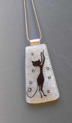 Cat Pendant Dichroic Fused Glass Pendant Dichroic by GlassCat