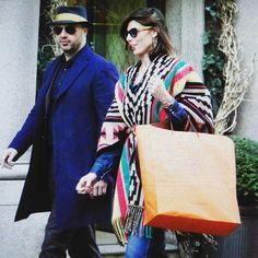 Joe Bastianich and Alessandra Grillo walking down Via Montenapoleone @ Milan.