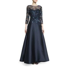 7ad4f29ba29 Rickie Freeman for Teri Jon 3 4-Sleeve Sequined Ball Gown store  gt