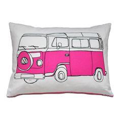 campervan cushion in pink by helena carrington | notonthehighstreet.com