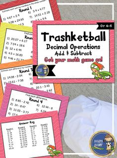 Add & Subtract Decimals Trashketball involves students adding &…