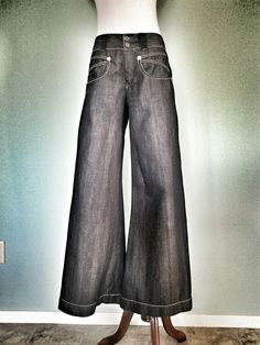 MARITHE FRANCOIS GIRBAUD BLUE GRAY STRIPED DENIM WIDE LEG JEANS PANTS  ITALY 32