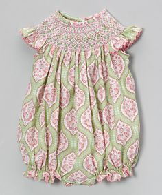 Look what I found on #zulily! Green & Pink Arabesque Smocked Bubble Romper - Infant & Toddler by Stellybelly #zulilyfinds