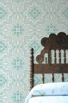 . . wallpaper + headboard . .lovely!