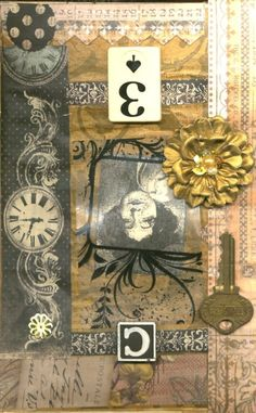 """Steampunk altered book page """"Vintage Face"""" by Linda Mitcheltree"""