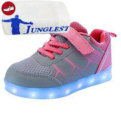 (Present:kleines Handtuch)Rosa EU 37, Up Farben Sportschuhe Luminous Flashing LED mode Charge Kids JUNGLEST® Licht Turnschuhe