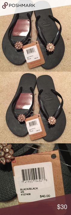 Size 4/5 NWT havaianas flip flops Brand-new with tags black size 4/5 USA 35-36 Uk havaianas  flip flop Havaianas Shoes