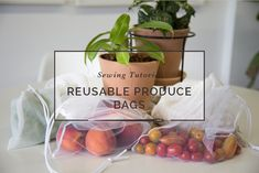Learn how to make zero waste DIY reusable produce bags using this easy sewing tutorial! Use mesh or cotton to make sturdy green bags for all your fruits and veggies. Dress Sewing Tutorials, Sewing Blogs, Sewing Projects, Sewing Patterns Free, Free Sewing, Beeswax Food Wrap, Diy Bags Purses, Produce Bags, Diy For Girls