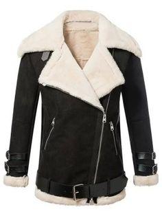 Shop Black Lapel Faux Shearling Zipper Detail Long Sleeve Jacket from choies.com .Free shipping Worldwide.$53.9