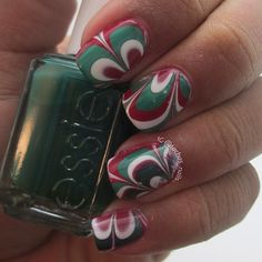 Christmas watermarble nails