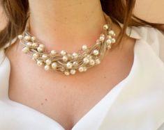 Collar de perlas blanco perla en el collar de cordón con