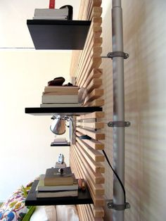 mandal headboard plus stolmen pole= shelves with no wall damage (or room divider?)