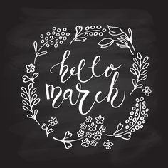 Hello March Lettering Calligraphy by Alps View Art on Creative Market Calligraphy Hello, Calligraphy Cards, Calligraphy Templates, Calligraphy Watercolor, Caligraphy, March Bullet Journal, Bullet Journal Hacks, Bullet Journals, Chalkboard Designs