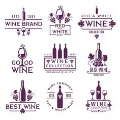 Logo set or badges of wine brands Premiu. White Wine Brands, Wine Images, Wine Logo, Logo Restaurant, Vintage Restaurant, Vintage Lettering, Logo Vintage, Wine Collection, Photoshop Design