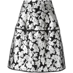 Oscar de la Renta metallic floral skirt (56 205 UAH) ❤ liked on Polyvore featuring skirts, black, floral knee length skirt, floral print skirt, oscar de la renta skirt, metallic skirt and flower print skirt