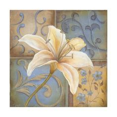 Posterazzi White Lily Canvas Art - Kim Lewis x Folk Art Flowers, Flower Art, Decoupage Paper, Decoupage Vintage, Tattoo Dentelle, La Madone, Leaf Wall Art, White Lilies, Arte Floral