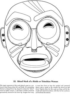 Native American Masks Coloring Book Dover Publications | Coloring ...