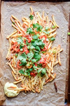 Crispy baked shoestring french fries with turmeric queso is a must-have for your next game day shindig. Yummy Pasta Recipes, Easy Appetizer Recipes, Beer Recipes, Milk Recipes, Yummy Appetizers, Side Dish Recipes, Potato Recipes, Cooking Recipes, Side Dishes