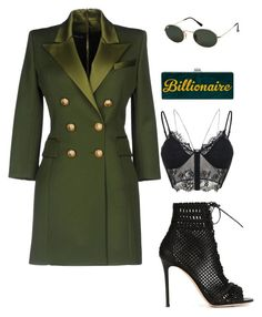 """Untitled #100"" by xokimmia on Polyvore featuring Balmain, Gianvito Rossi and Ray-Ban"