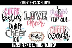Cheer Embroidery Design and Cutting File Bundle - Embroidery & Cutting