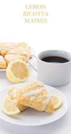 These tender low carb lemon ricotta scones make a perfect keto brunch recipe. #lowcarb #keto #sugarfree #ricotta #lemon #scones via @dreamaboutfood