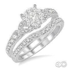 5/8 Ctw Round Cut Diamond Lovebright Wedding Set with 1/2 Ctw Engagement Ring and 1/6 Ctw Wedding Band in 14K White Gold