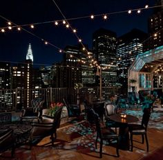 Fairy lights New York // urban rooftop event - love