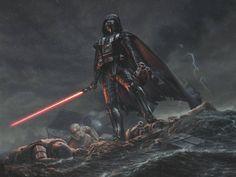 1600x1200 Wallpaper star wars, darth vader, art, rain